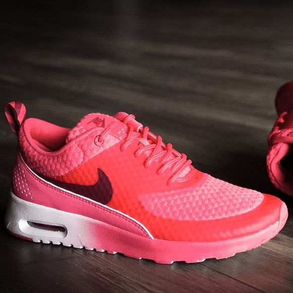 Crimson-Red Ombré Air Max Thea Sneakers Nike's Air Max Thea sneaker feature  a low