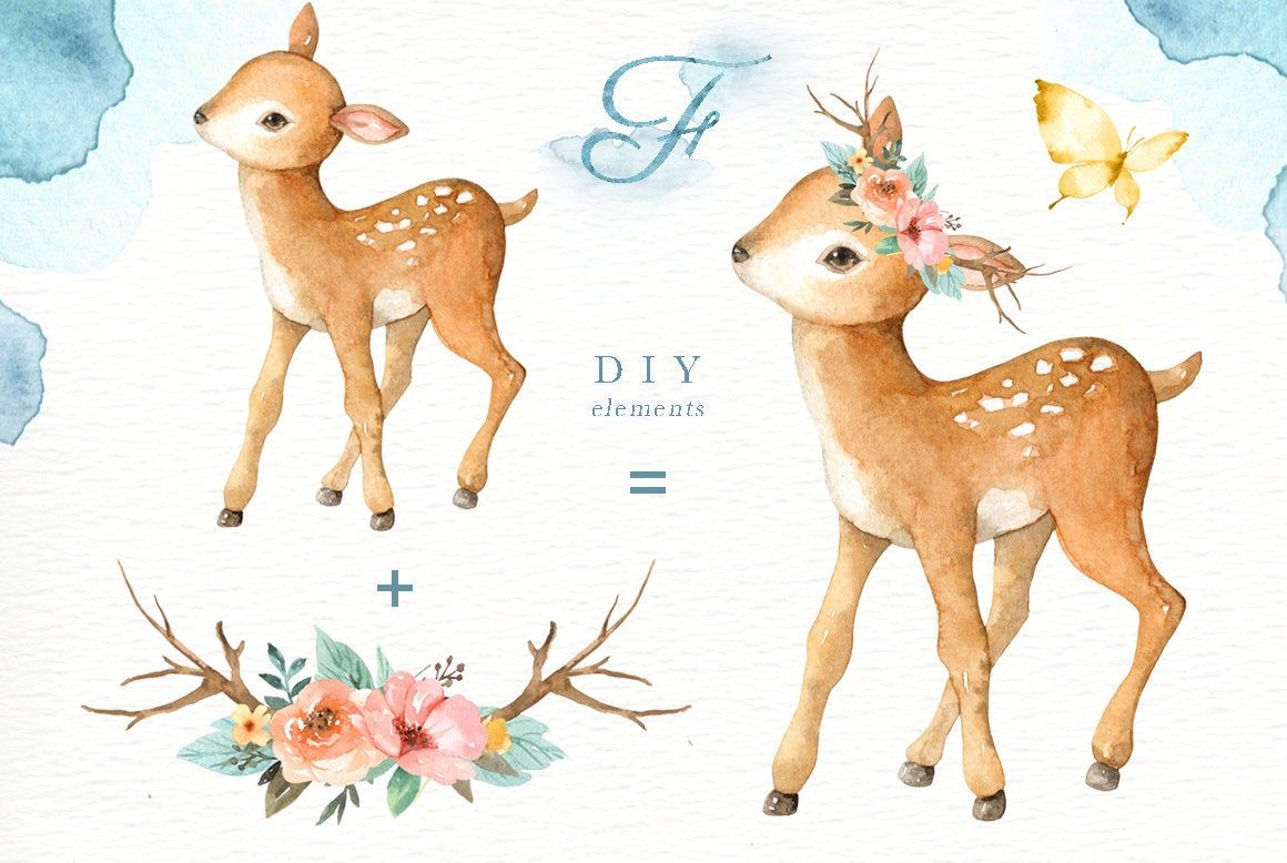 Happy Forest Watercolor Clip Art,Woodland Animals, Kids ...