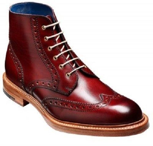 4c6b8682373 New Men burgundy Wingtip Brogue Derby Ankle Leather Boots Ankle Boot ...