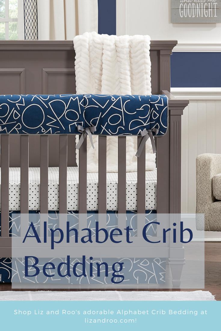 Alphabet Crib Bedding Set Navy Liz And Roo Bumperless Crib Bedding Crib Bedding Crib Bedding Sets