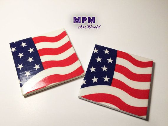Handmade American Flag Ceramic Tile Coasters Made In Usa Red White Blue Table Coasters Drink Co Handmade American Flag Ceramic Tile Coaster Ceramic Tiles
