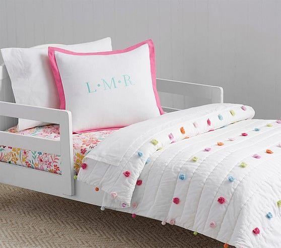 Bright Pom Pom Toddler Bedding | Pottery Barn Kids