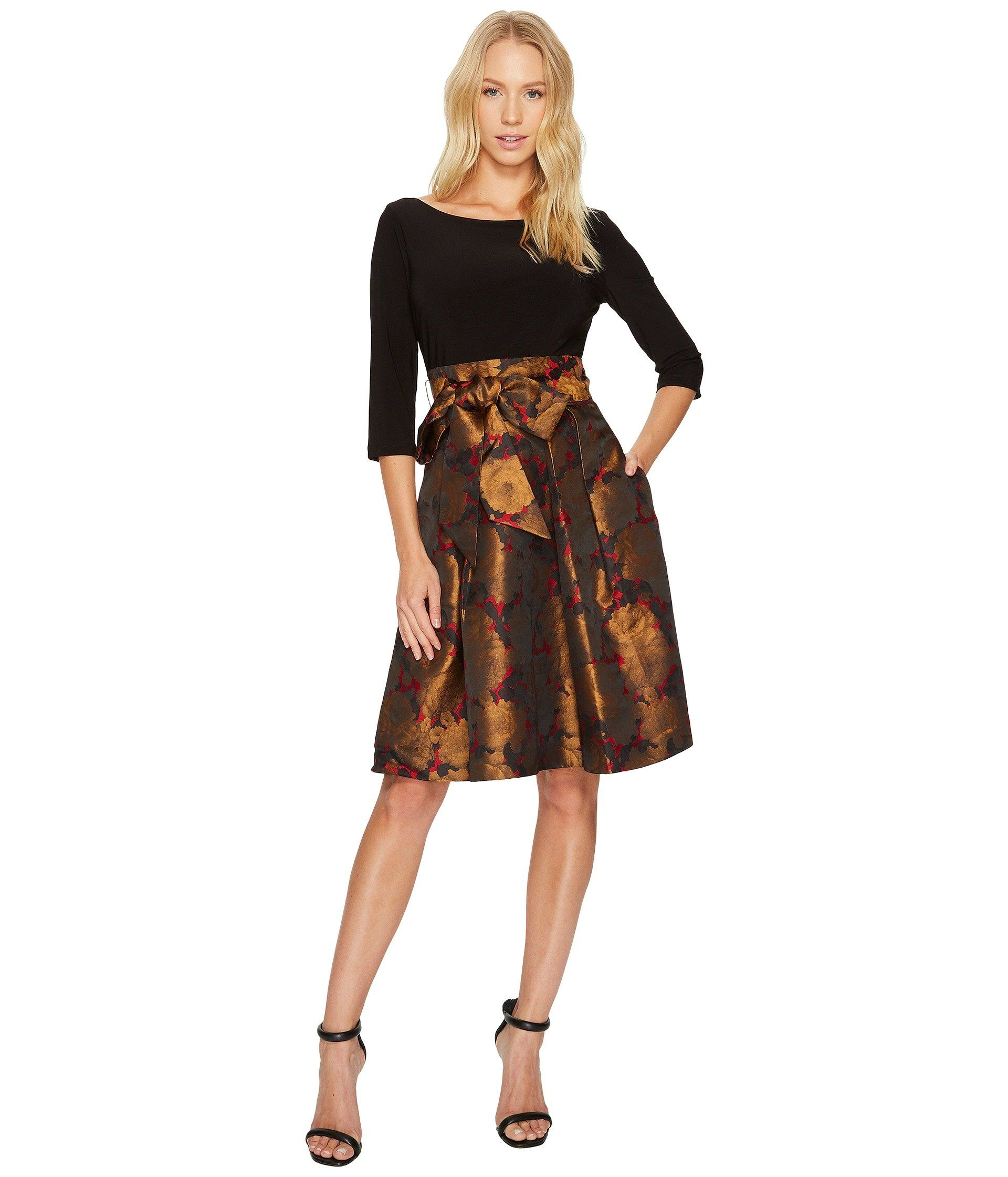 a73eb893aa6 ADRIANNA PAPELL Jacquard Fit   Flare with Matte Jersey Top.  adriannapapell   cloth