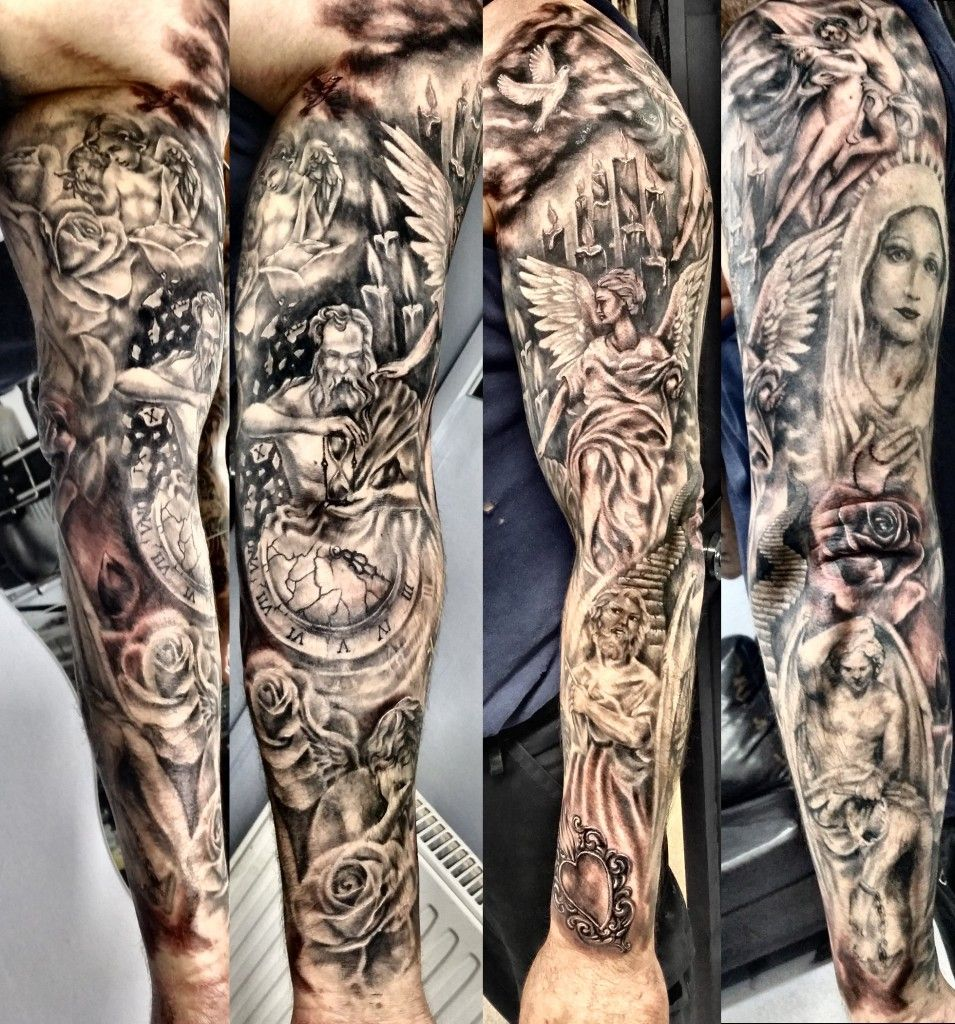 religious sleeve tattoo by Justyna Kurzelowska -   24 religious tattoo sleeve