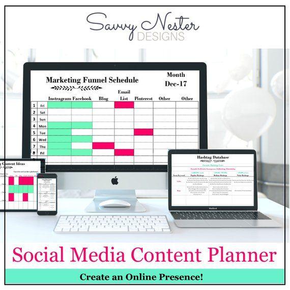 social media Business planner productivity planner daily - social media tracking spreadsheet