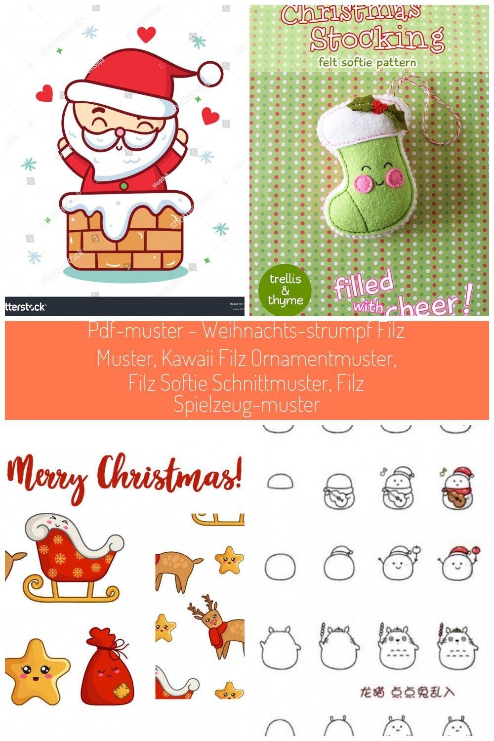 Christmas Santa Claus character vector (Kawaii Cartoon) illustrations isolated on white. Happy New