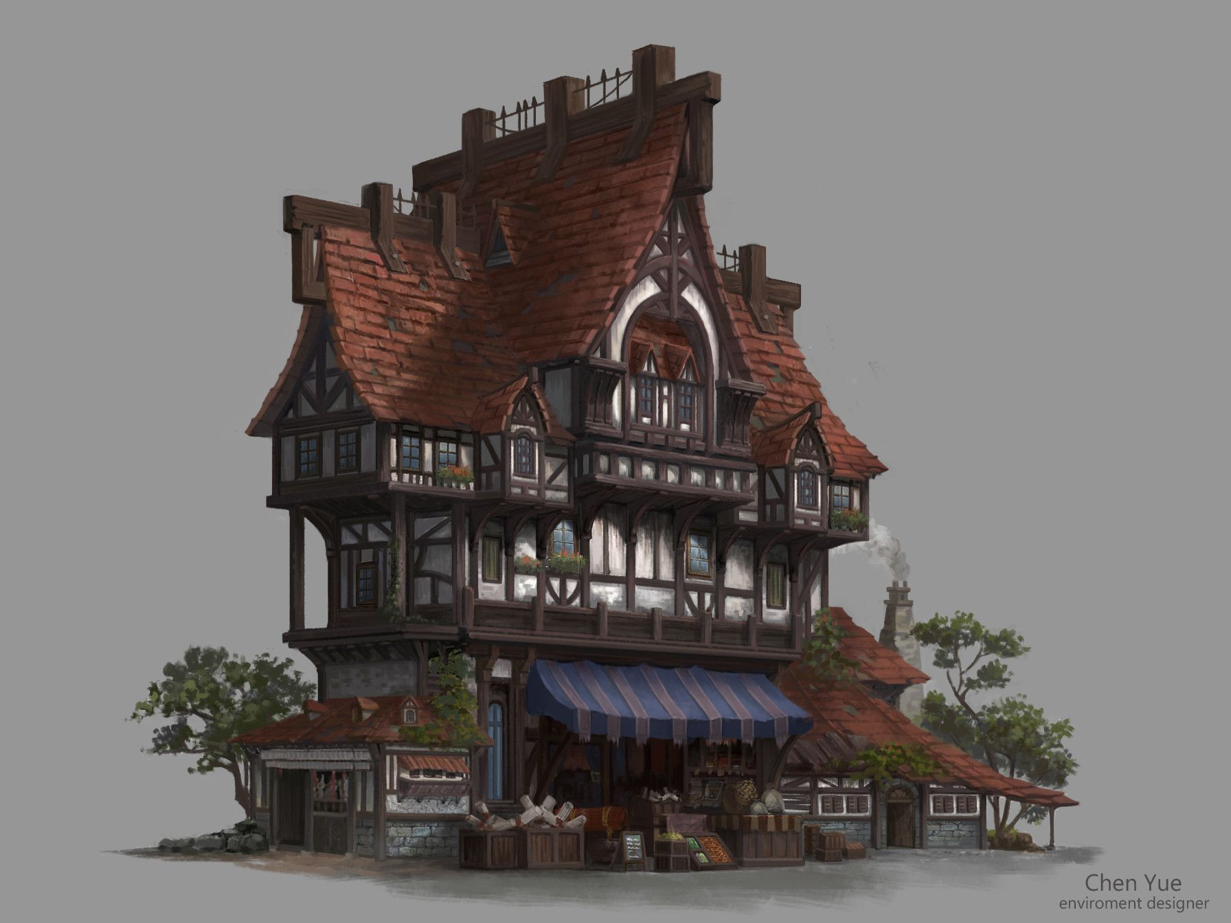 Artstation object design yue chen buildings in games for Fantasy house plans