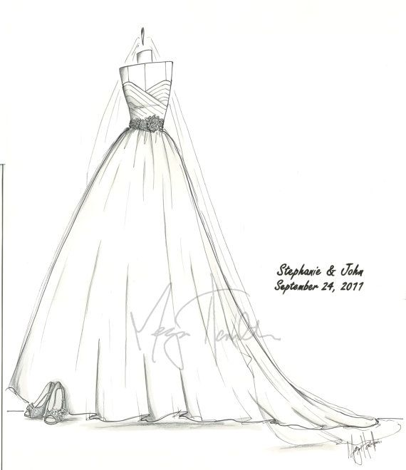 Custom Bridal Hand-Drawn Illustration | Bridal gowns, Sketches and Gowns