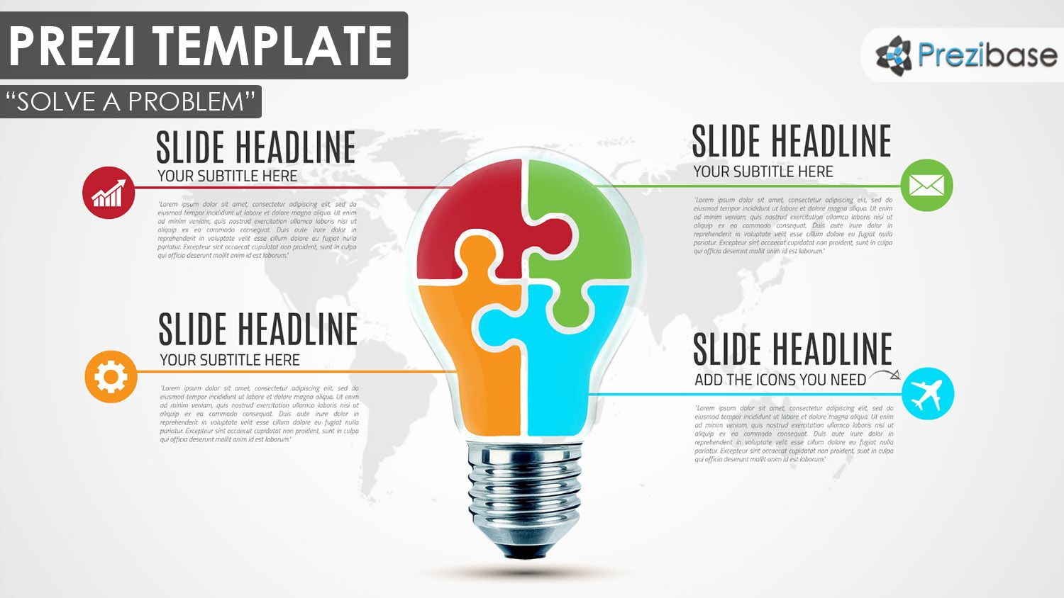 Creative Busness Light Bulb Puzzle Diagram Prezi Template