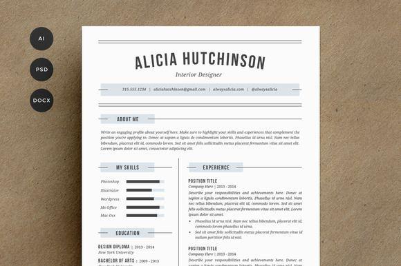 Professional Graphic Design Resume Graphic Design  Graphic Design Ideas  Resume Template 4 Pack  Cv .