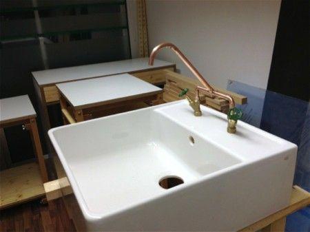 spülenschrank, spülstein, keramik, buche massivholz, geholbelt - wasserhahn für küche