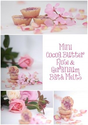 Mini Cocoa Butter Rose Geranium Bath Melts