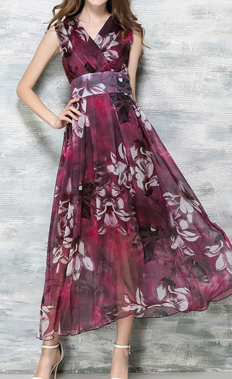 146327d4449 Bohemian Style Chiffon Sleeveless Maxi Dress