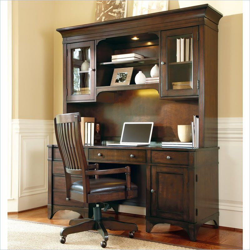 Furniture Abbott Place Executive Computer Desk With Optional Hutch Warm Cherry There S Nothing Wrong Demanding Your Home Office Is A Highly