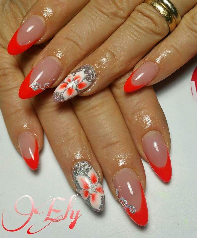 French corallo fluo argento glitter fiori Unghie Con French Manicure, Unghie  Gel, Manicure,