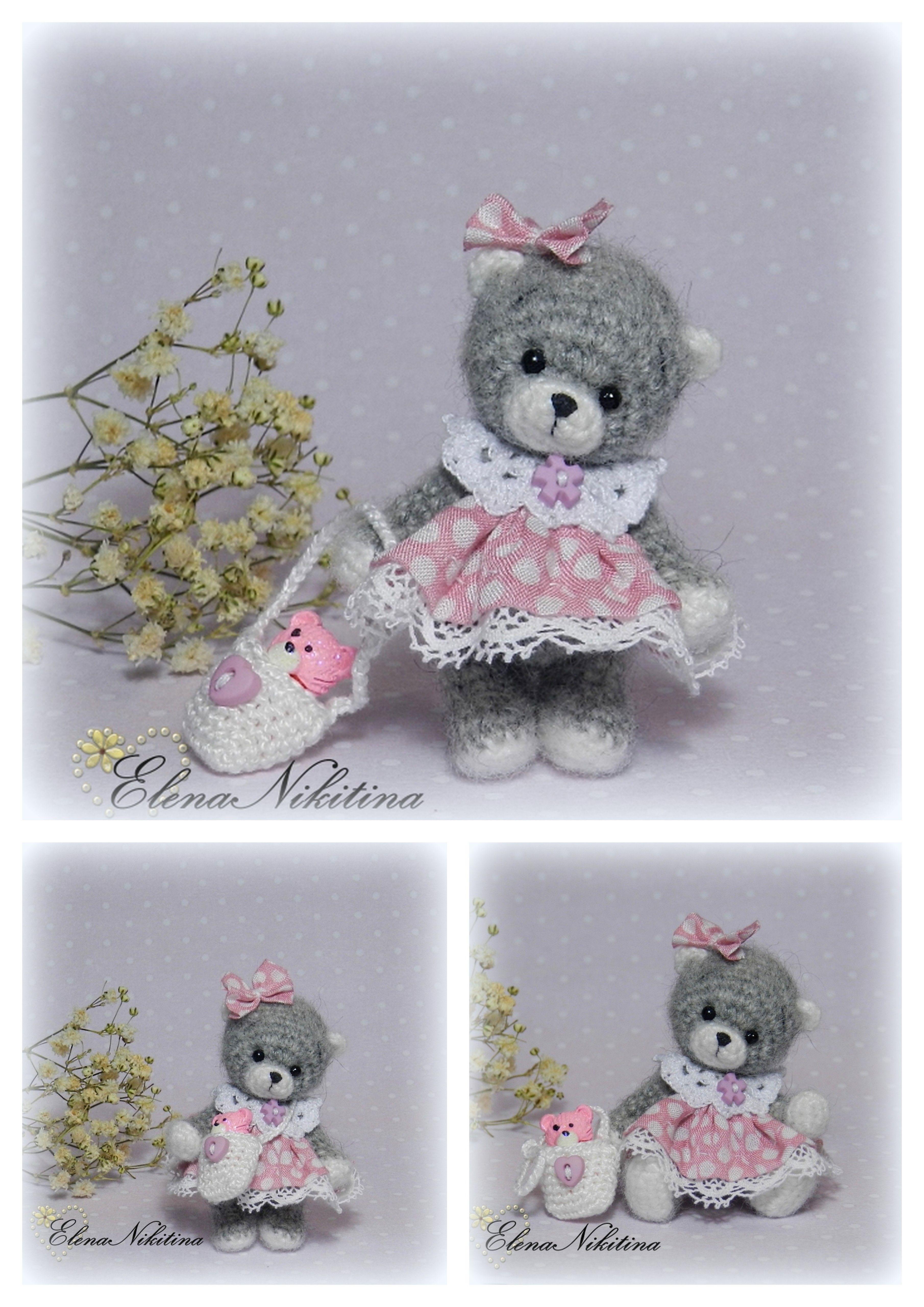 Teddy bear in a pink dress. Elena Nikitina.