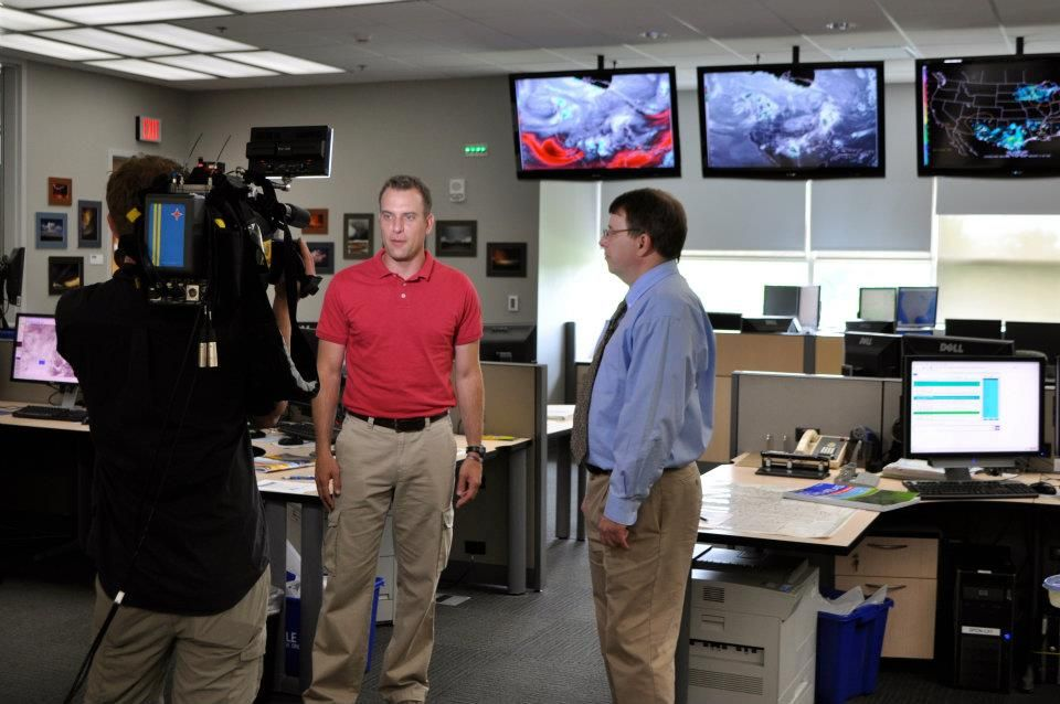 Interviewing Director Dr  Russ Schneider inside the Storm