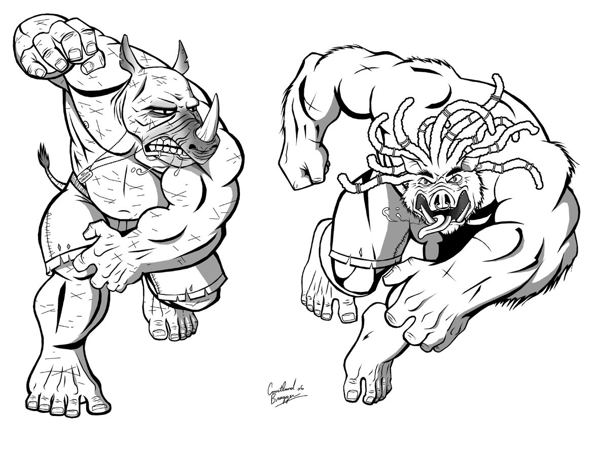 Ninja turtles pages to color - Beebop And Rocksteady By Ninja Turtles