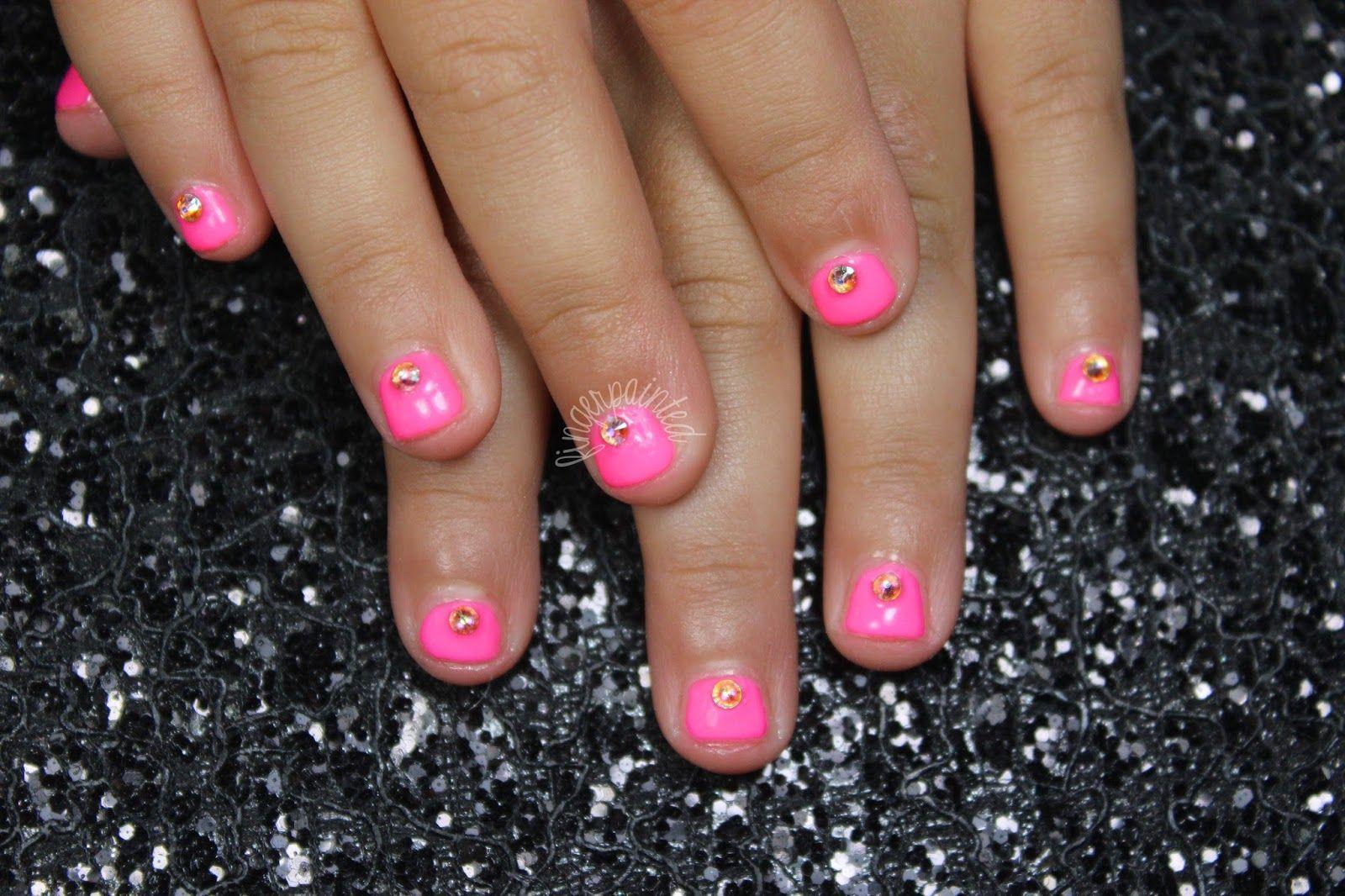 Embellished hot pink nails #nails #nailart #nailpolish #girls #kids ...