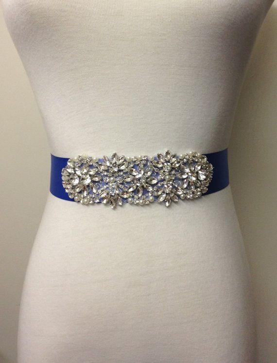 Rhinestone Sash Royal Blue Sash Bride Sash Blue Satin Blue Belt