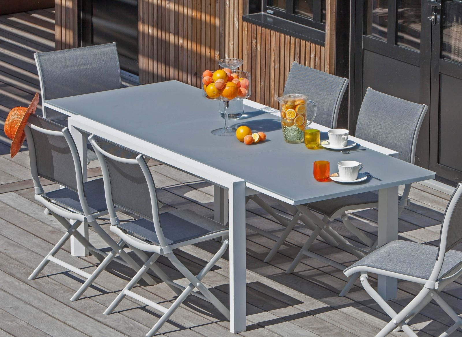 Table Juan 160 240 Cm Plateau Verre Mobilier Jardin Mobilier Exterieur Et Mobilier