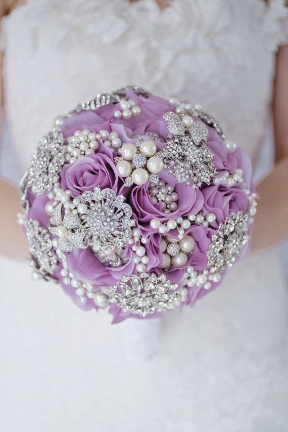 Custom lavender rose silk flower brooch bouquet purple fabric custom lavender rose silk flower brooch bouquet purple fabric bouquet lilac chic bridal wedding bouquet pearl cluster brooch 9 inch mightylinksfo