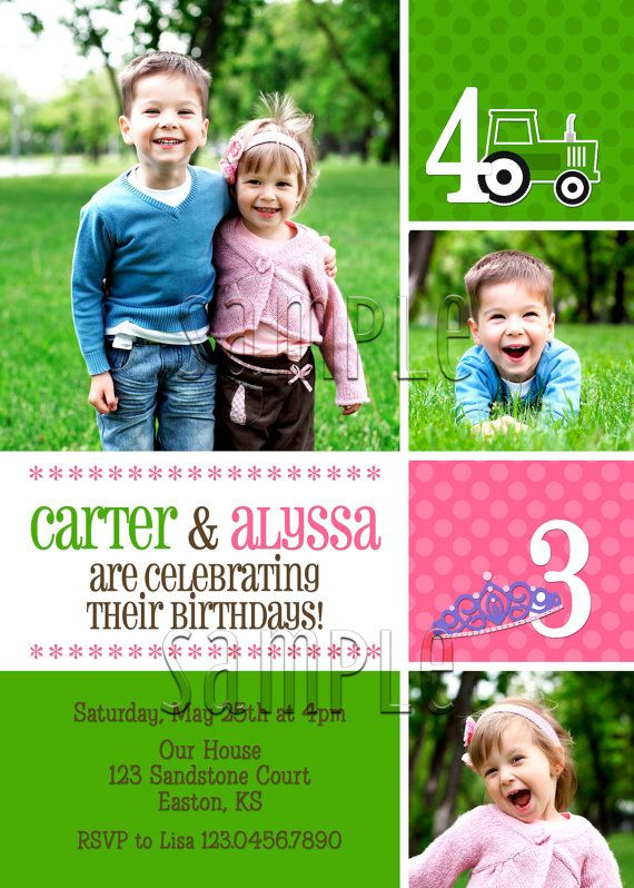 joint twin photo birthday invitation