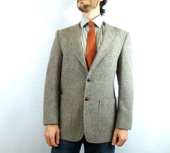 Men's Vintage Tweed Blazer with Elbow Patches / Fitted Men's ...