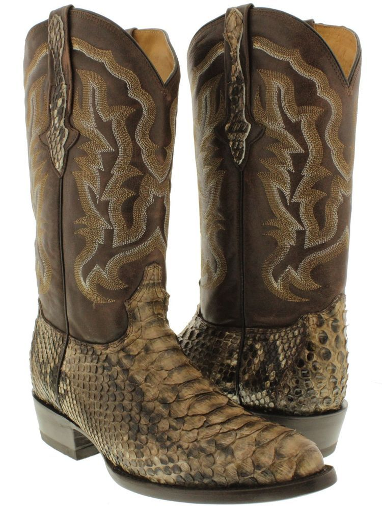 Men's Natural Genuine Leather Sole Rodeo Western Boot With Saddle Python Skin