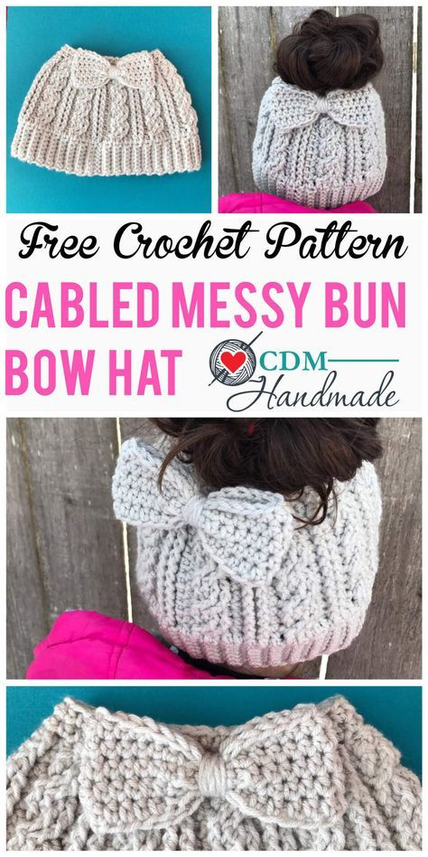 cabled messy bun bow hat pinterest | Fashion | Pinterest | Tejido