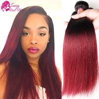 Brazilian Virgin Hair Ombre Straight Unice Dark Red Ombre Brazilian Hair Weave 4 Brazilian Hair Bundles Cheap Human Hair Hair Bundles
