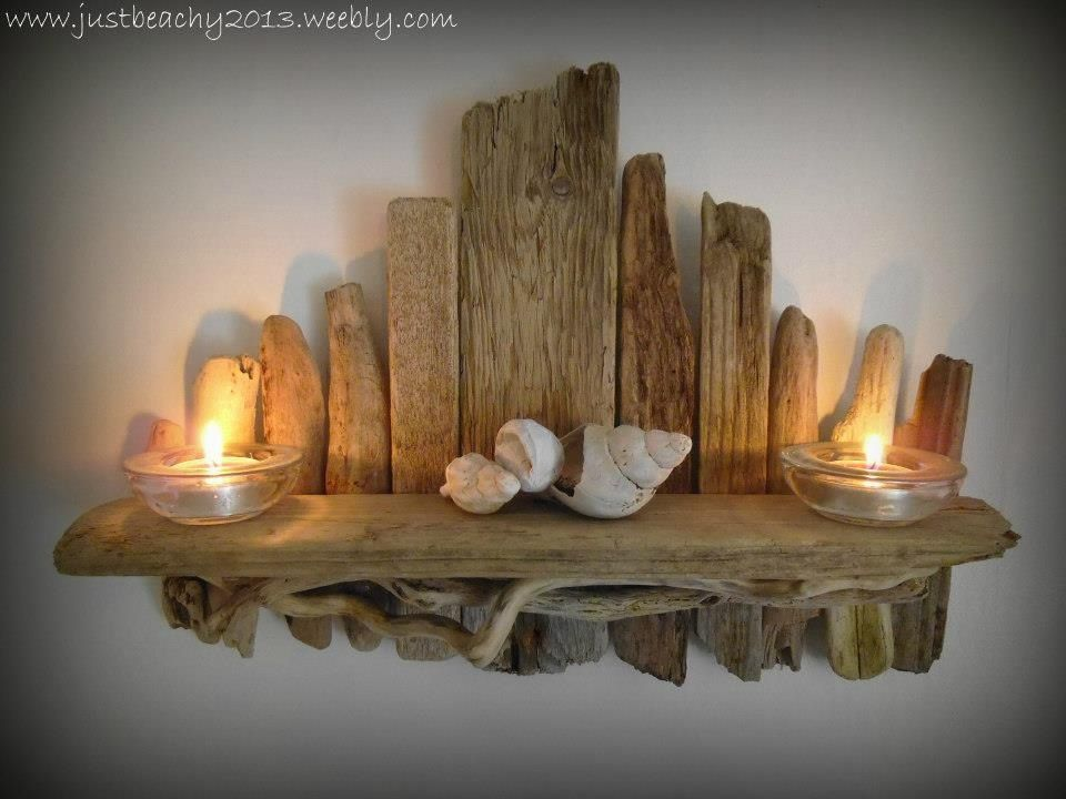 Driftwood shelf from just beachy coastal crafts for Driftwood art crafts