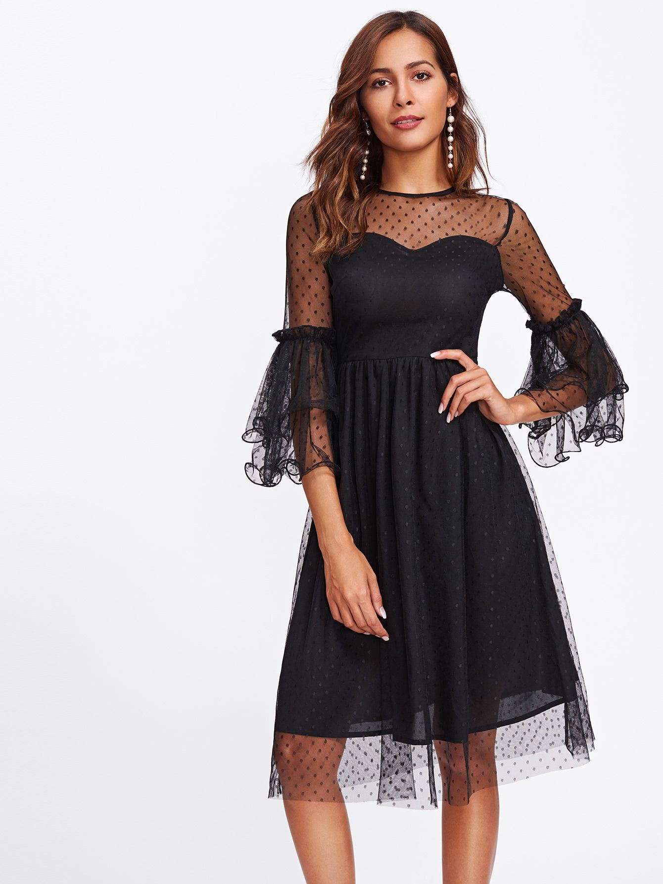 17b6047a5939ba Shop Layered Bell Sleeve Dot Mesh Overlay Dress online. SheIn offers  Layered Bell Sleeve Dot Mesh Overlay Dress & more to fit your fashionable  needs.