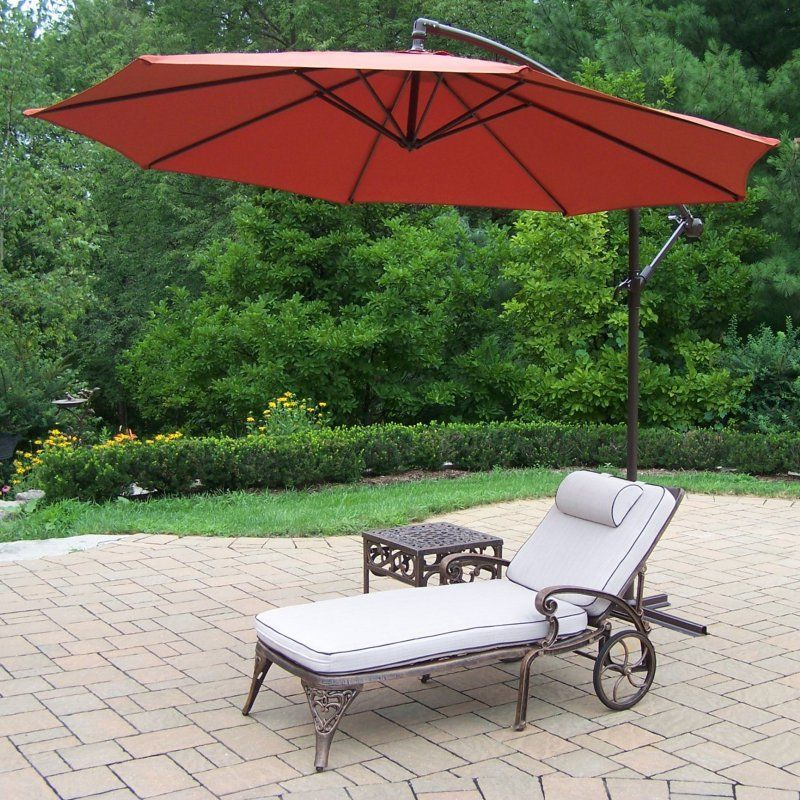 Outdoor Oakland Living Elite Cast Aluminum Chaise Lounge Set With  Cantilever Umbrella