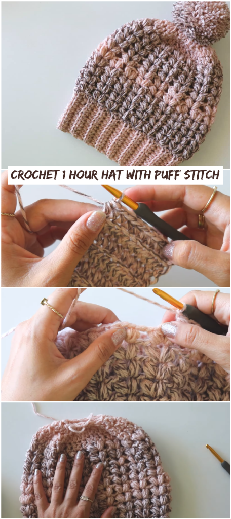 How To Crochet 1 Hour Hat With Puff Stitch – Crochetopedia