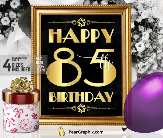 Happy 85th Birthday Sign Printable Decor Roaring 20s Gatsby Party Decoration