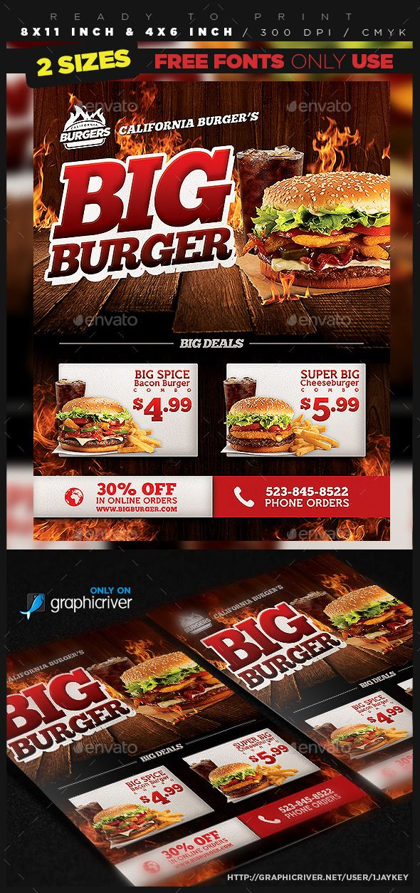 Burger Food Flyer Template Flyer template, Template and Print - restaurant flyer