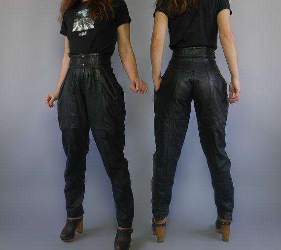 6e7c1185 Jodhpurs black leather pants High waist Vintage 80s breeches Womens ...