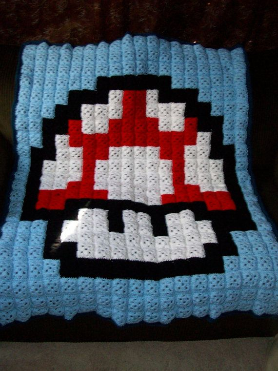 Super Mario Bros Red Mushroom Crochet Blanket By Beeswax Crafts