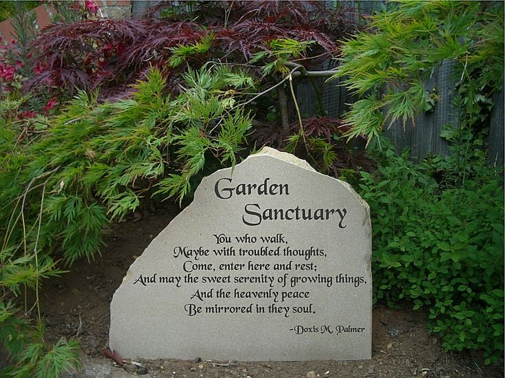 Backyard Memorial Serenity Garden York Stone Freestanding Solid Stone Sign With Garden Poem