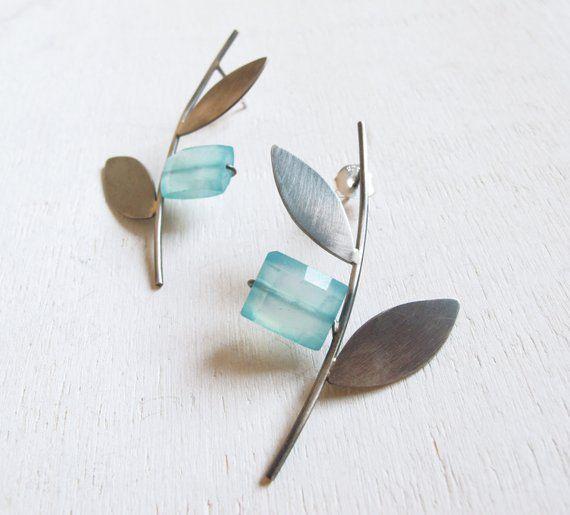 Photo of Christmas earrings, oxidized silver olive branch long stud earrings, botanical earrings, March birthstone earrings, bridal earrings