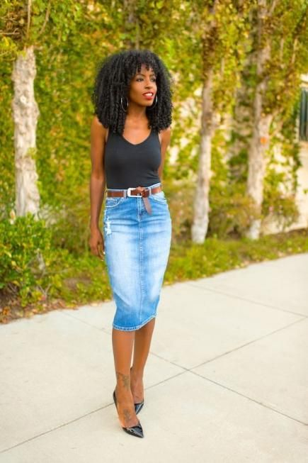 Style Pantry makes combining two basic pieces—a tank and a denim pencil  skirt—seem effortlessly chic. Knot a belt through the loops for a finished  look. 4275fdf0d