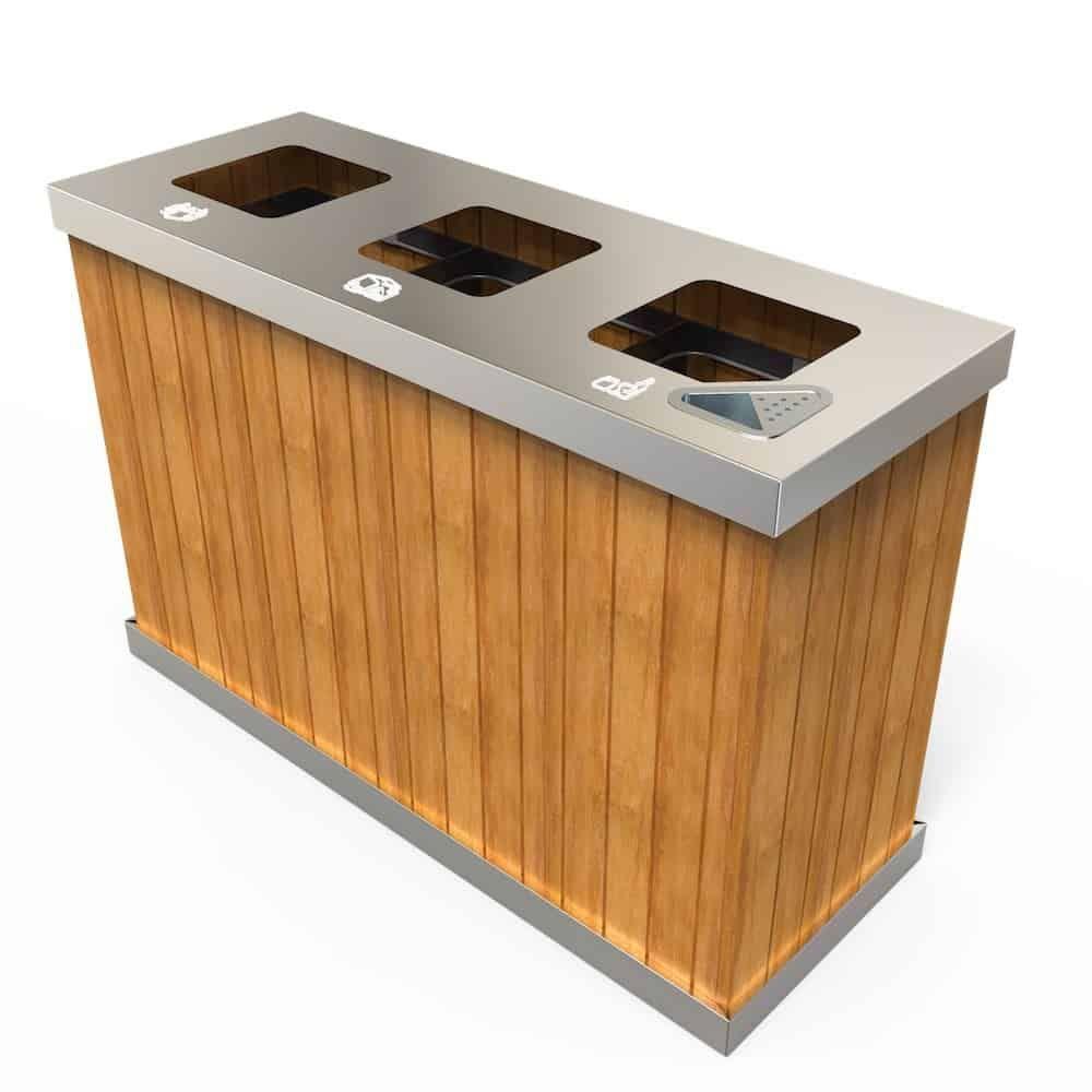Oslo Sw Poubelle Exterieure Pour Tri Selectif 3 Ou 4 Bacs 50 Litres A 100 Litres Outdoor Storage Box Recycling Bins Outdoor Furniture