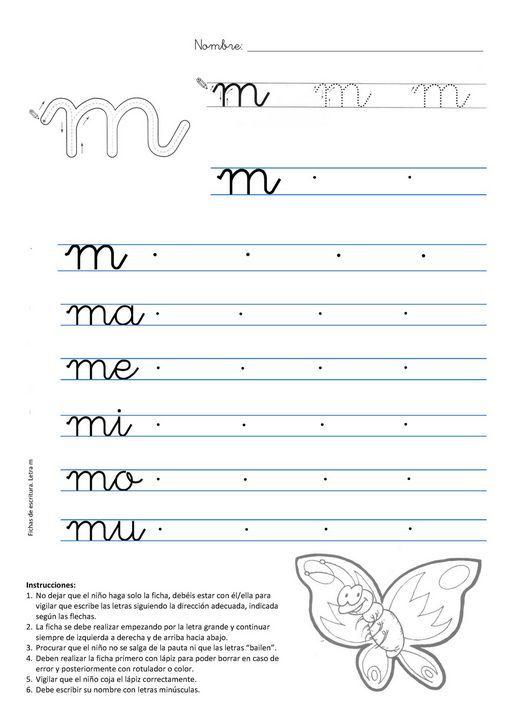 Ficha de Caligrafía para imprimir gratis: Caligrafia letra m ...