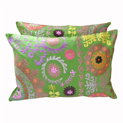 Pair of Green Suzani Embroidered Pillows