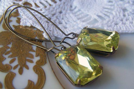 Lemon, Sparkly Citrine Vintage Glass Jewel Antiqued Dangle Earrings
