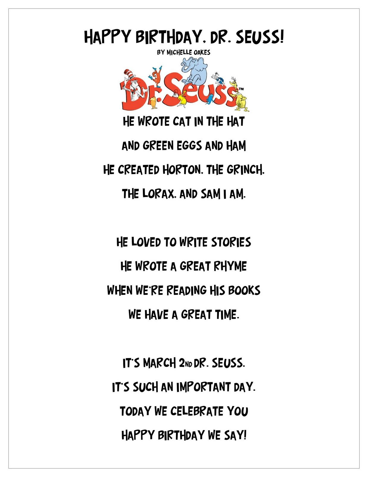 Happy Birthday Dr Seuss Poem And Craft With Images