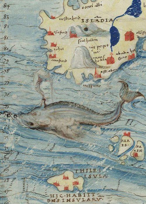 Montpellier, Bibliothèque interuniversitaire. Section Médecine, H 070, detail of f. 016v. Cartes marines, mappemonde, avec quelques cartes géographiques terrestres (16th century)