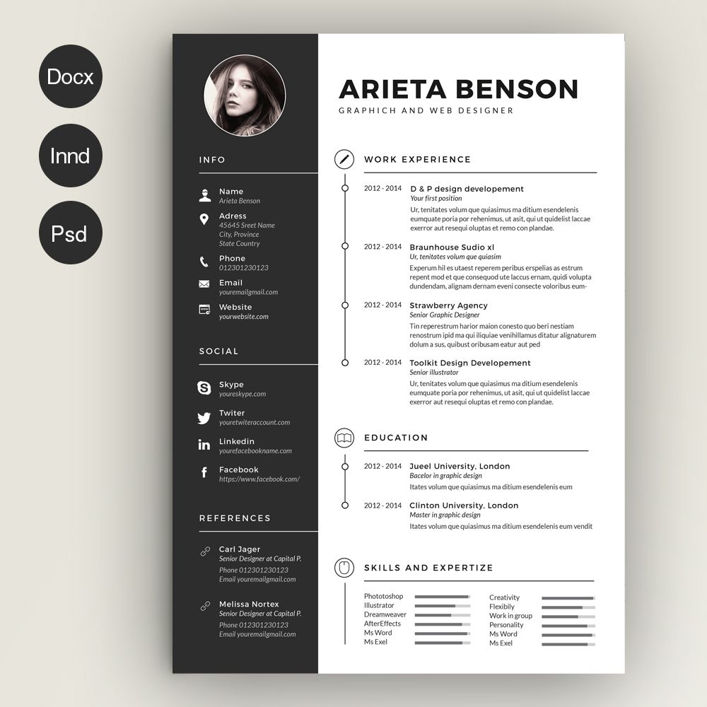 30 Professional Resume Template Designs Psd Indesign Eps Ms Word Graphic Cloud Graphic Design Resume Creative Resume Templates Infographic Resume