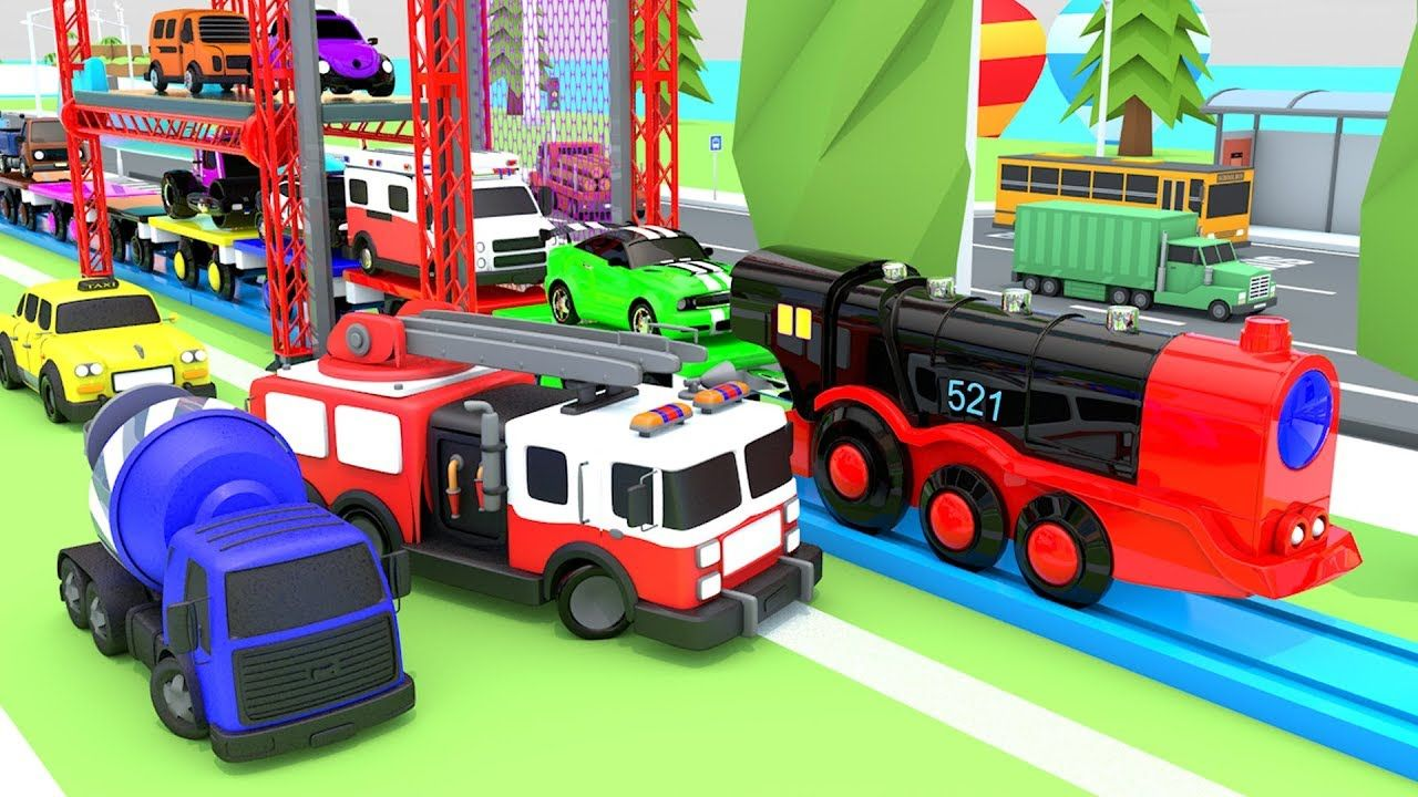 Colors For Children To Learn With Street Vehicles With Toy Train And Mul Rhymes For Kids Toy Train Coloring For Kids